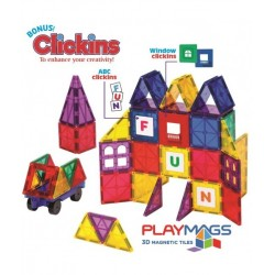 Set Playmags - 100 Piese Magnetice De Construcție + 18 Accesorii