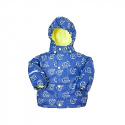 Jacheta impermeabila cu fleece - CeLaVi - Yellow Elephants on Blue