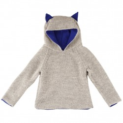 Hoodie dublat reversibil Waddler baby alpaca - Blue/Light Grey