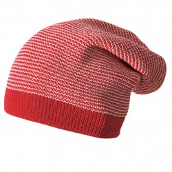 Caciula Disana (Long Beanie) din lana merinos - Red/Rose melange