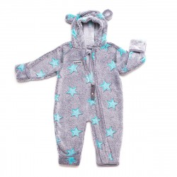 Costum din fleece - Grey turquoise - Hoppediz
