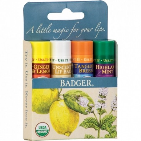 Set 4 balsamuri clasice de buze - Blue Kit - Badger