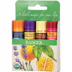 Set 4 balsamuri clasice de buze - Green Kit - Badger