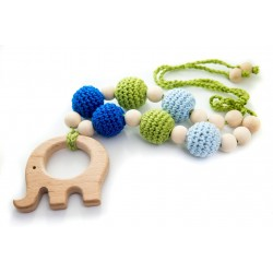 Colier pentru alaptare sau babywearing Blue Green Apple with Elephant