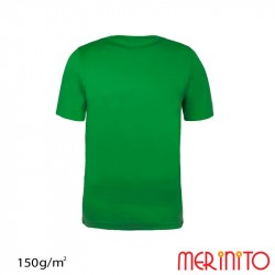 Tricou copii maneca scurta 100% merino 150 g/mp - Green shadows - Merinito