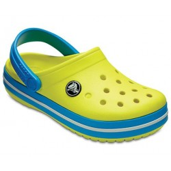 Slapi Crocs (Kids' Crocband™ Clog) - Tennis Ball Green/Ocean