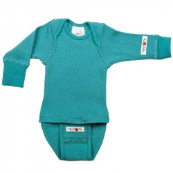 Body/Bluza (2 in 1) ManyMonths din lână merinos - Royal Turquoise