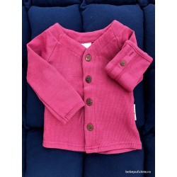Cardigan ManyMonths din lana merinos - Frosted Berry