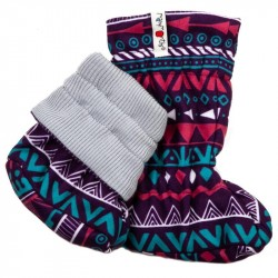 Botosei ManyMonths Winter Booties Unique pt babywearing - Bright Silver/Boho Print