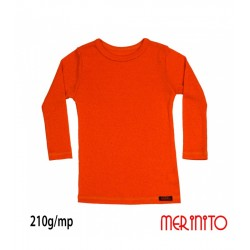 Bluza copii Rib Pointelle 210g 100% merino - Orange Bliss - Merinito