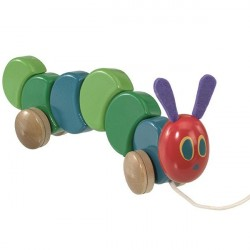 The Very Hungry Caterpillar | Jucarie din lemn cu roti 26 cm