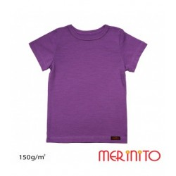 Tricou copii maneca scurta 100% merino 150 g/mp - Amethyst Purple - Merinito