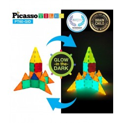 Set PicassoTiles Fosforescente (GLOW In The Dark) - 60 Piese magnetice de constructie colorate