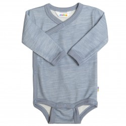 JOHA - Body din lana merinos si bambus Faded Denim cu capse (tip wrap)