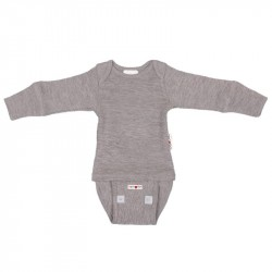 Body/Bluza (2 in 1) ManyMonths lână merinos - Silver Cloud