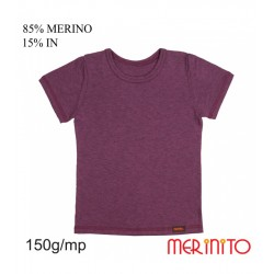Tricou copii 150 g/mp 85% merino 15% in - Prune - Merinito