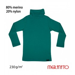 Bluza copii Turtleneck 230g/mp lana merinos Lagoon - Merinito