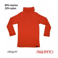 Bluza copii Turtleneck 230g/mp lana merinos Red Orange - Merinito