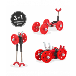 FormulaBit - 3 În 1 Red Vehicle Kit The OFFBITS - Set De Construit Cu Șuruburi Și Piulițe
