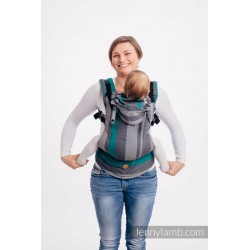 LennyGo Ergonomic Carrier, Toddler Size, broken-twill weave 100% cotton - SMOKY - MINT