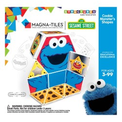 Set de constructie piese magnetice, CreateOn Magna-Tiles - Sa invatam formele cu The Cookie Monster Sesame Street, 17 piese