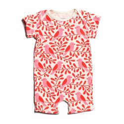 Salopeta cu maneci scurte din bumbac organic Winter Water Factory - Summer Romper - Birds & Berries Red & Pink