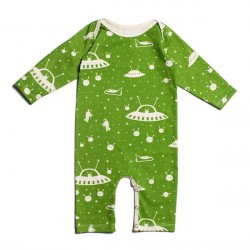 Salopeta cu maneci lungi din bumbac organic Winter Water Factory -Long-Sleeve Romper - Outer Space Slime Green